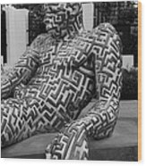 A Maze Ing Man 5 Black And White Wood Print