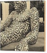 A Maze Ing Man 5 Sepia Wood Print