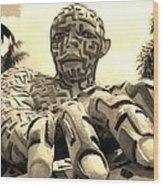 A Maze Ing Man 6 Sepia Wood Print