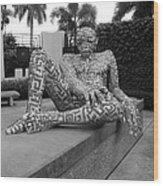 A Maze Ing Man Black And White Wood Print