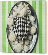 A Meal With Painted Chicken And Eggplant Wood Print