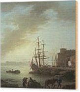 A Mediterranean Port At Dawn Wood Print by Claude-Joesph Vernet