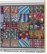 A Menagerie Of Colorful Quilts Triptych Wood Print