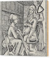 A Midwife Discreetly Helps To  Deliver Wood Print