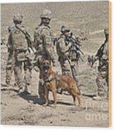 A Military Working Dog Accompanies U.s Wood Print
