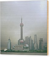 A Misty Pudong Wood Print