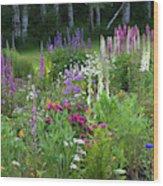 A Mixture Of Flowers Bloom In Hillside Wood Print