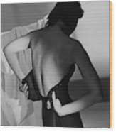 A Model Fastening Her Brassiere Wood Print