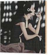 A Model Wearing A Branell Dress Wood Print