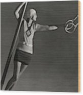 A Model Wearing A Jean Patou Bathing Suit Wood Print