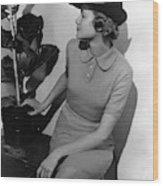 A Model Wearing A Knit Dress Wood Print