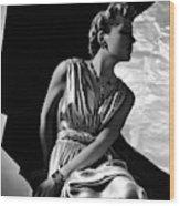 A Model Wearing A Piguet Dress Wood Print