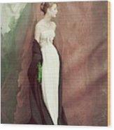 A Model Wearing A White Dress Wood Print