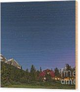 A Moonlit Nightscape Taken In Banff Wood Print