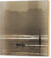 A Morning Paddle Wood Print by Henry Kowalski
