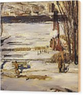 A Morning Snow On The Hudson River Wood Print