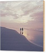 A Morning Walk On The Beach Wood Print