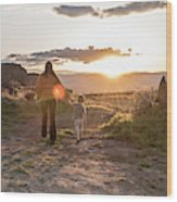 A Mother And Child Hike At Sunset Wood Print