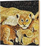 A Mother's Love - In The Den By Lcs Wood Print