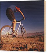 A Mountain Bike Rider On A Ride Wood Print