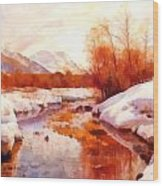 A Mountain Torrent In A Winter Landscape Wood Print