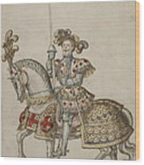 A Mounted Knight With Lance Wood Print