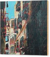 A Narrow Street Wood Print