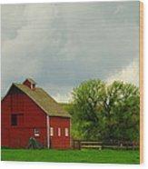 A Neat Red Barn Near Sheridan Wyoming Wood Print