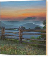A New Beginning - Blue Ridge Parkway Sunrise I Wood Print by Dan Carmichael