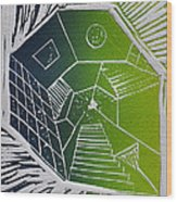 A New Dimension Blue And Green Linocut Wood Print