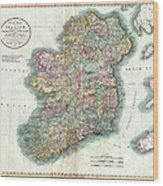 A New Map Of Ireland 1799 Wood Print