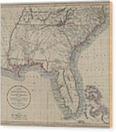 A New Map Of Part Of The United States Of North America Wood Print