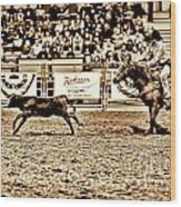 A Night At The Rodeo V11 Wood Print