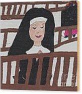 A Nun In Prayer Wood Print