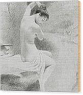 A Nymph Wood Print by Charles Prosper Sainton