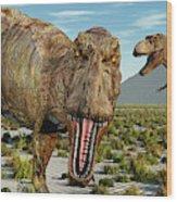 A Pack Of Tyrannosaurus Rex Dinosaurs Wood Print