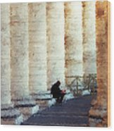 A Painting Alone Among The Vatican Columns Wood Print