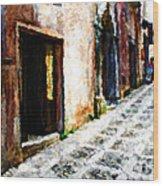 A Painting An Italian Street Wood Print