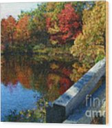 A Painting Autumn Lake And Bridge Wood Print