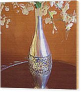 A Painting Silver Vase On Table Wood Print