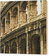 A Painting The Colosseum Wood Print