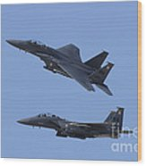 A Pair Of F-15c Eagle Aircraft Perform Wood Print