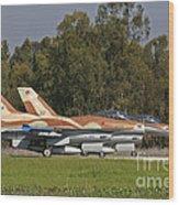 A Pair Of F-16c Barak Of The Israeli Wood Print