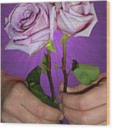 A Pair Of Purple Roses Wood Print
