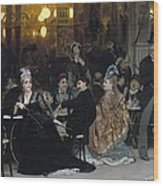 A Parisian Cafe Wood Print by Ilya Efimovich Repin