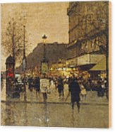 A Parisian Street Scene Wood Print