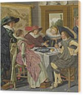 A Party At Table Wood Print