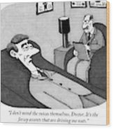 A Patient Lying Down Talks To His Shrink Wood Print