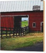 A Peaceful Day With A Barn Wood Print by Christine Burdine