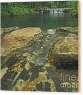 A Peaceful Early Morning At Little Niagra Waterfall A Wood Print